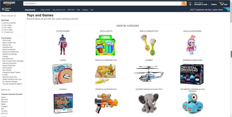 Toys Category on Amazon