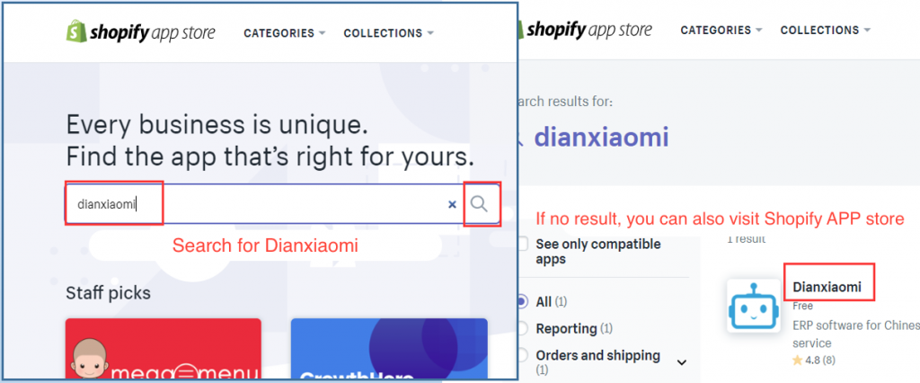 Dianxiaomi APP on Shopify Store