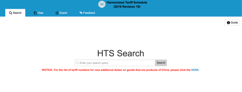 US HTS Code Search